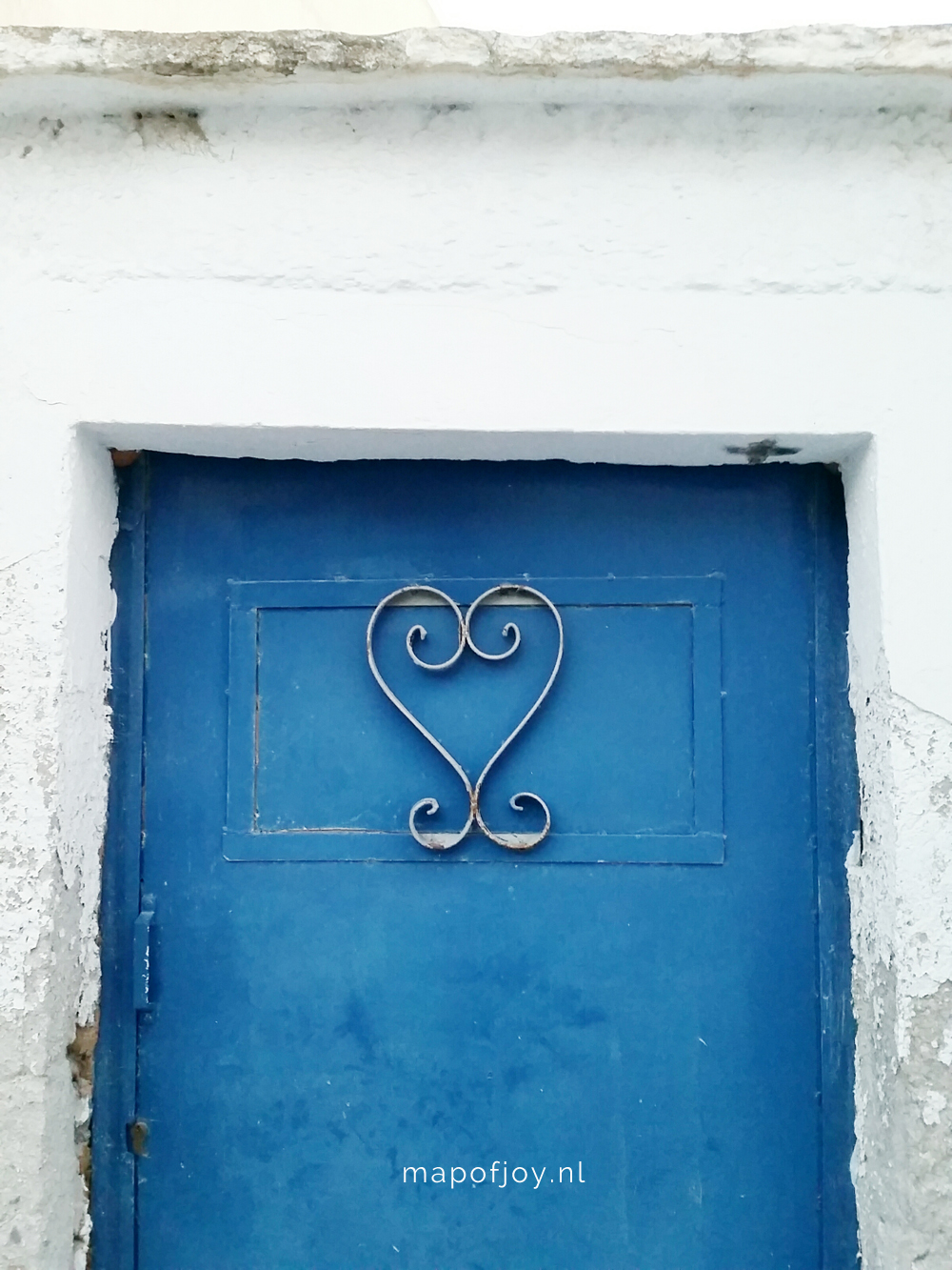 Santorini Greece, heart door - Map of Joy