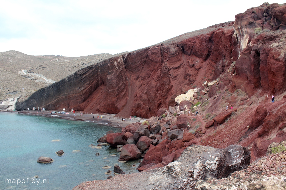 Santorini Greece, Red Beach - Map of Joy