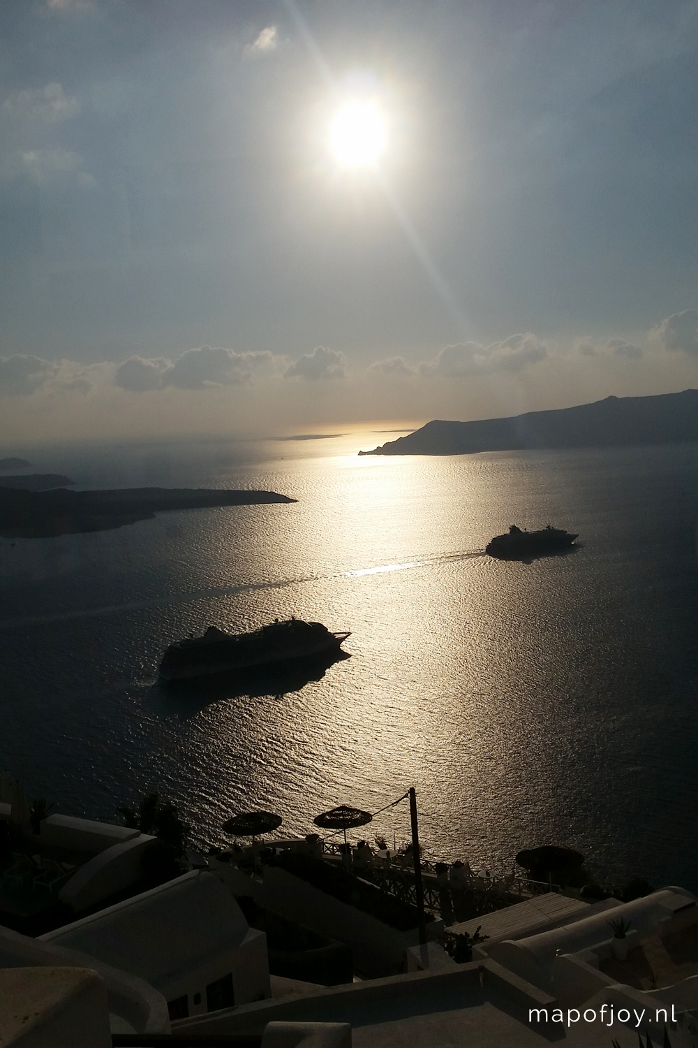 Santorini Greece, Fira sunset - Map of Joy