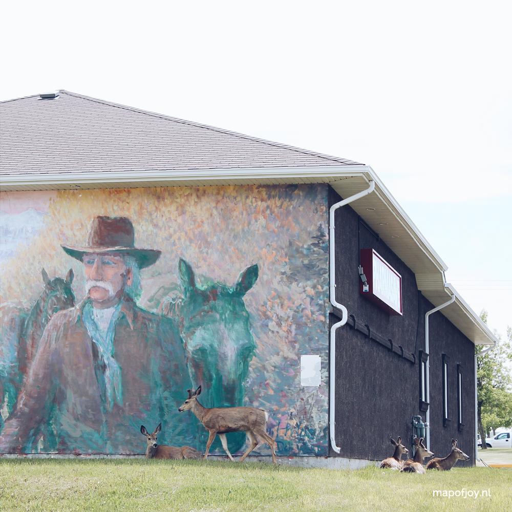 Mural with live deer, Alberta, Canada - Map of Joy