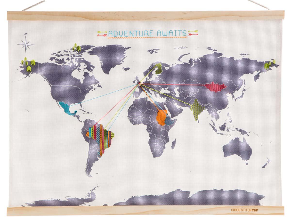 Cross Stitch Map, travel gift - Map of Joy