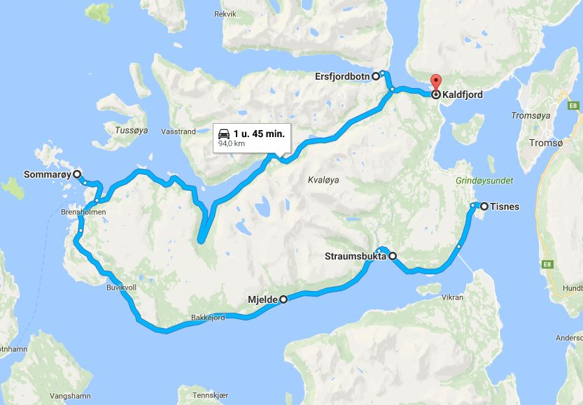 Roadtrip route Kvaloya, Sommaroy, Noord-Noorwegen
