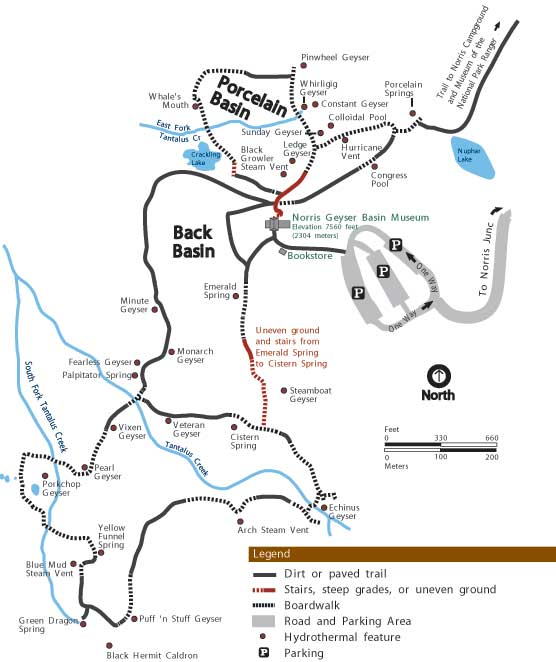 Norris Geyser Basin map, Yellowstone