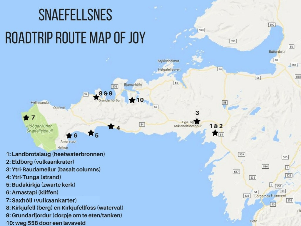 map roadtrip route Snaefellsnes, IJsland - Map of Joy