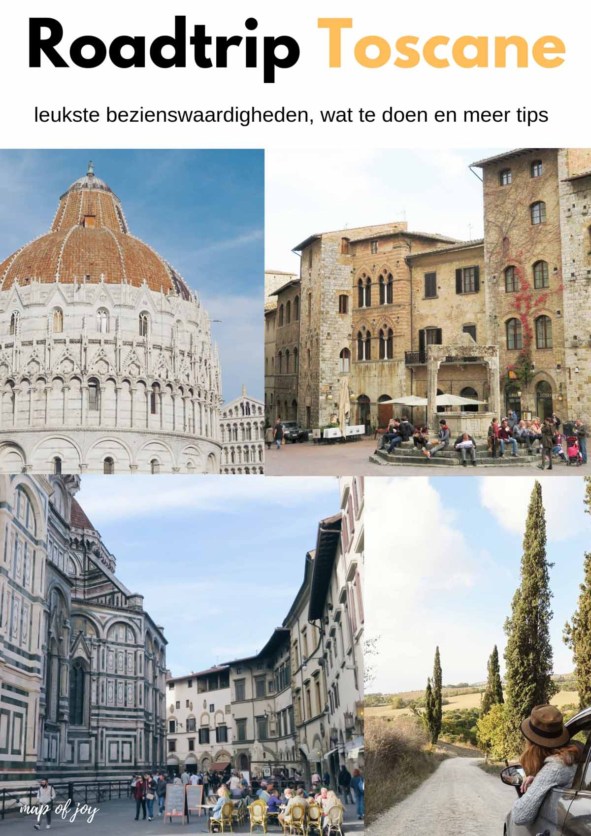 Roadtrip Toscane tips - Map of Joy