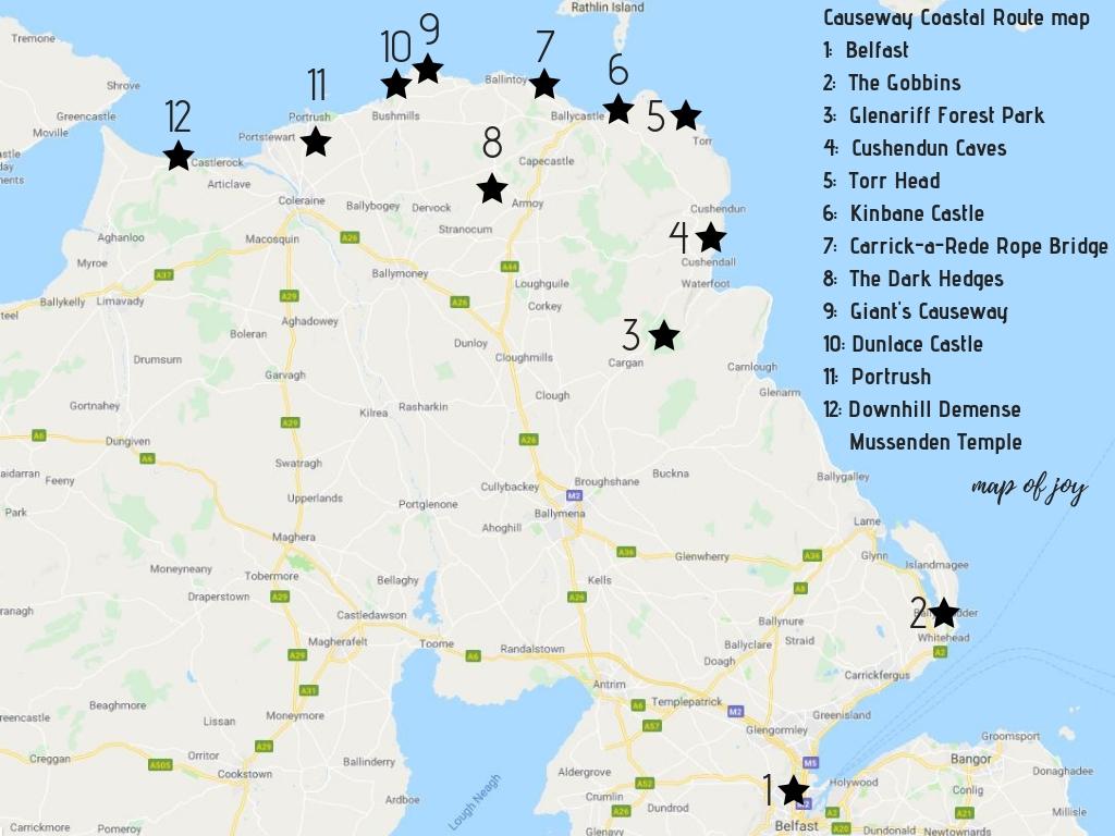 Map van de mooiste bezienswaardigheden van de Causeway Coastal Route - Map of Joy