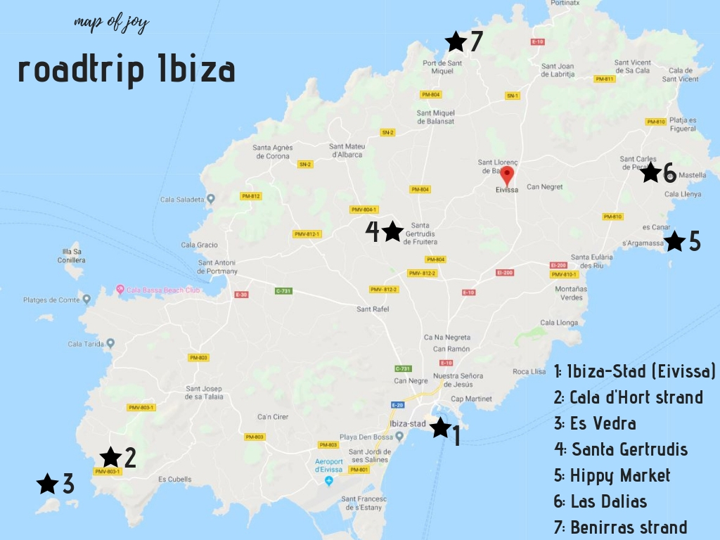 Lang weekend Ibiza: de leukste plekken in een roadtrip route plattegrond - Map of Joy
