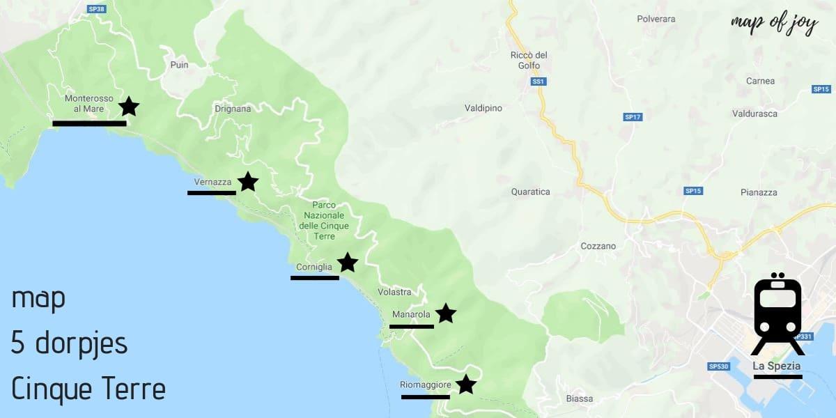 plattegrond met 5x tips voor een bezoek aan Cinque Terre - Map of Joy