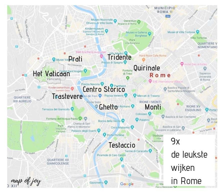 9x de leukste wijken in Rome, plattegrond - Map of Joy