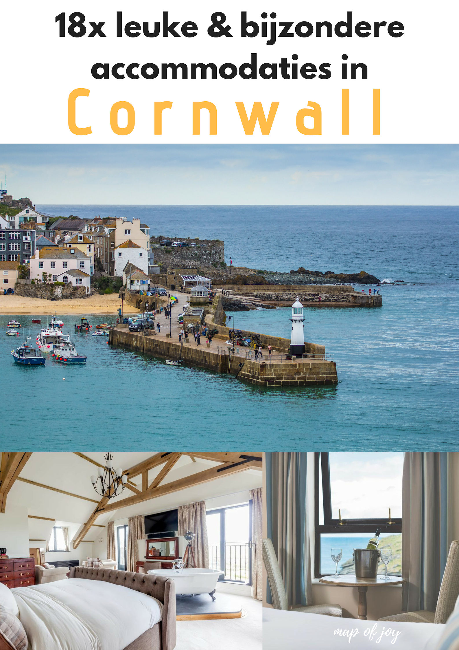 18x leuke, bijzondere accommodaties in Cornwall - Map of Joy