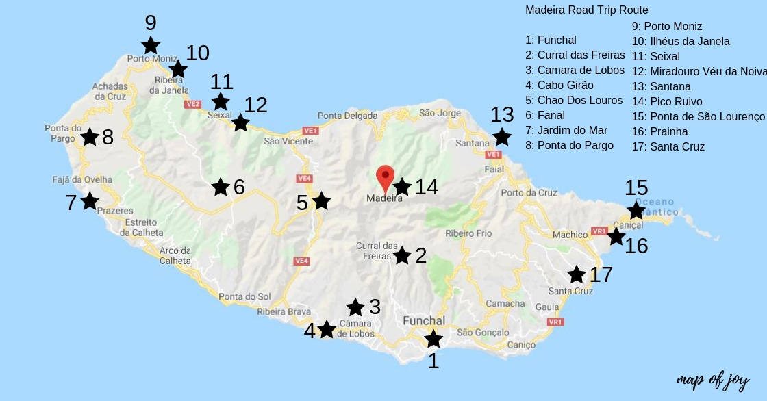 Mooiste bezienswaardigheden op Madeira [roadtrip route] plattegrond - Map of Joy