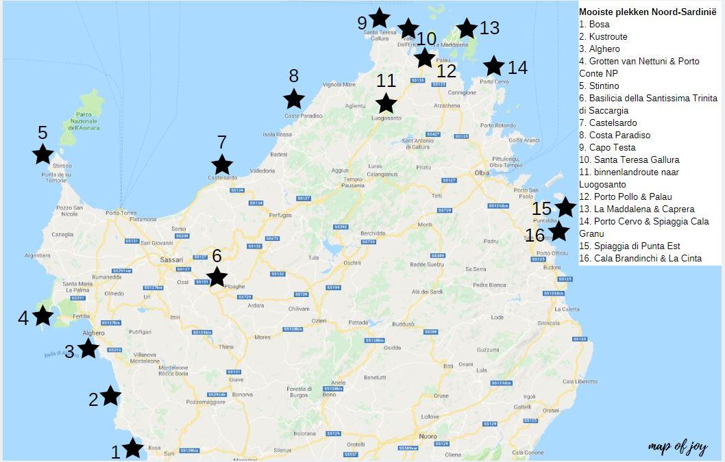 De mooiste plekken van Noord-Sardinië [roadtrip route], plattegrond - Map of Joy