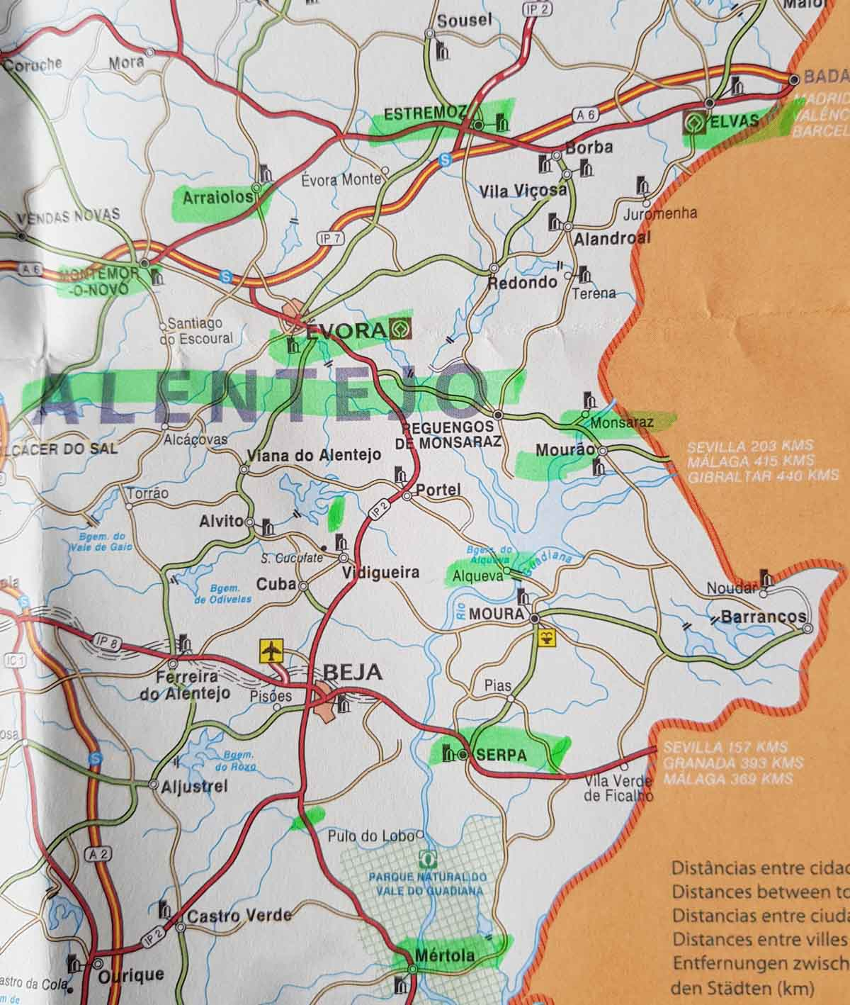 Rondreis Alentejo Portugal, plattegrond - Map of Joy