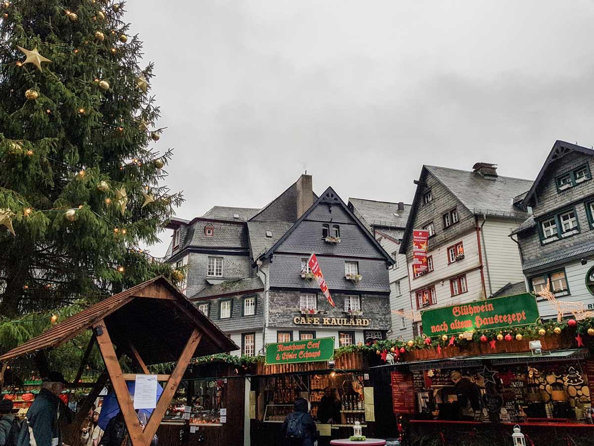 kerstmarkt Monschau, Eifel, Duitsland