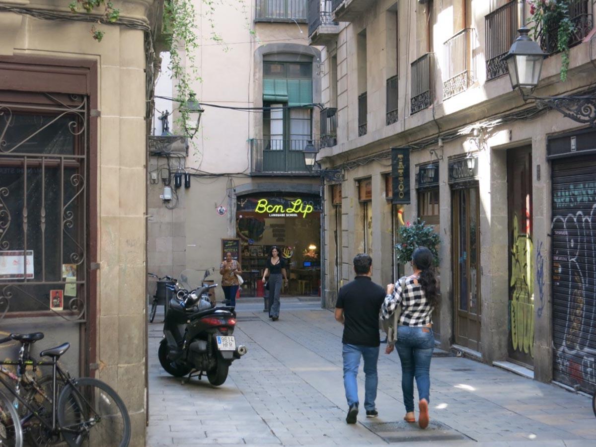 De Gotische wijk in Barcelona.