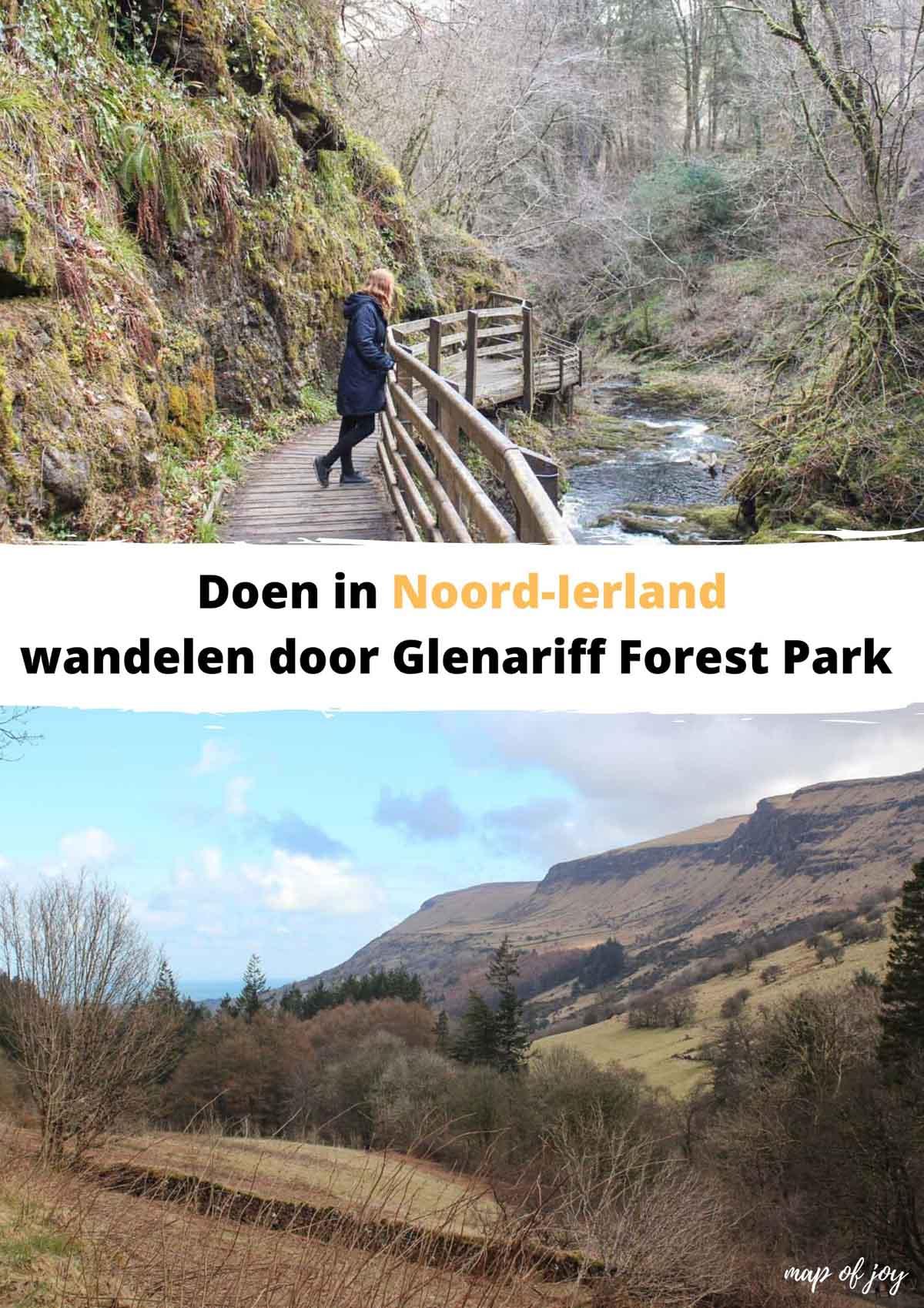 Wandelen door Glenariff Forest Park met bossen en watervallen - Map of Joy