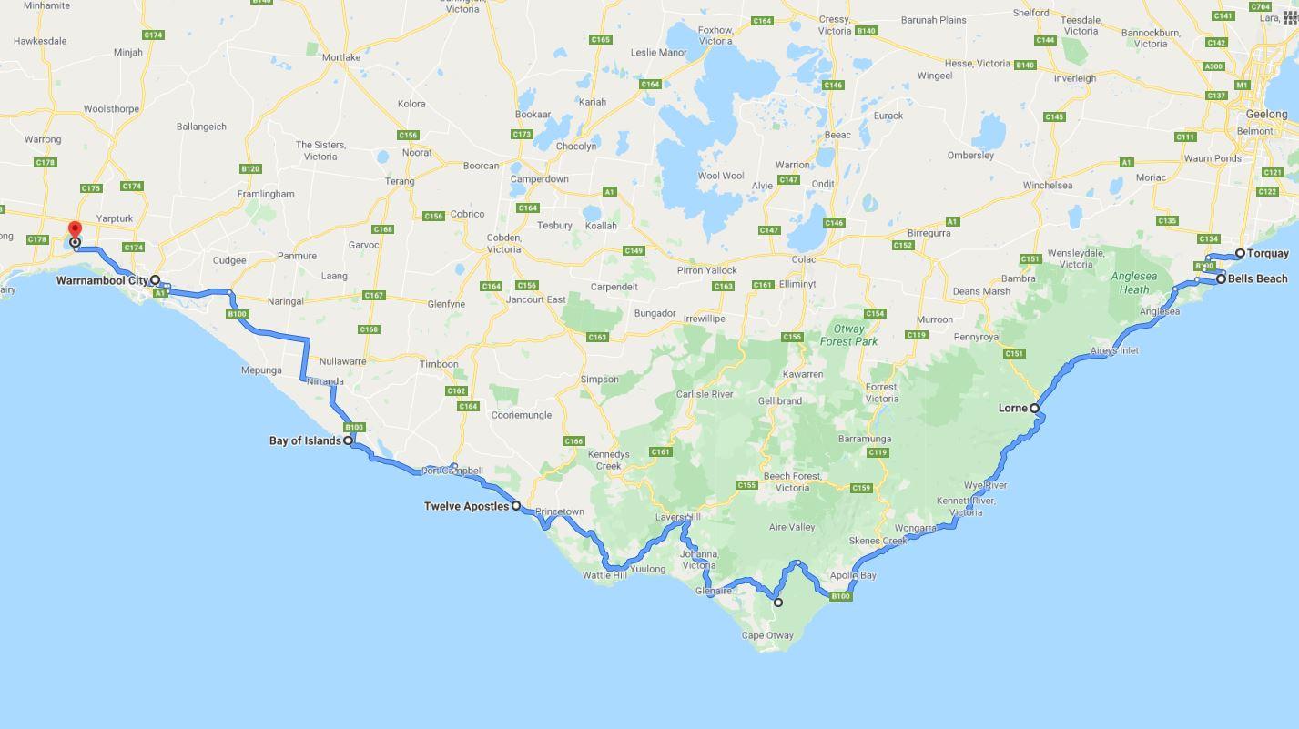 Mooiste bezienswaardigheden Great Ocean Road kaart - Map of Joy