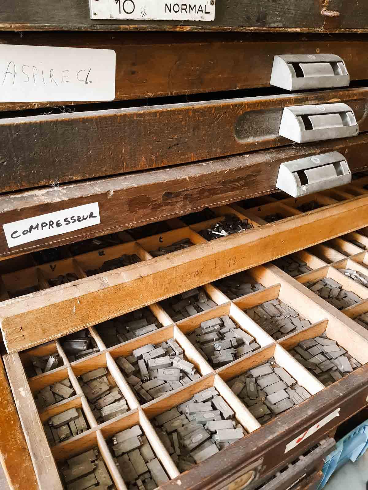 Centre de la Gravure stempel letters voor drukkunst