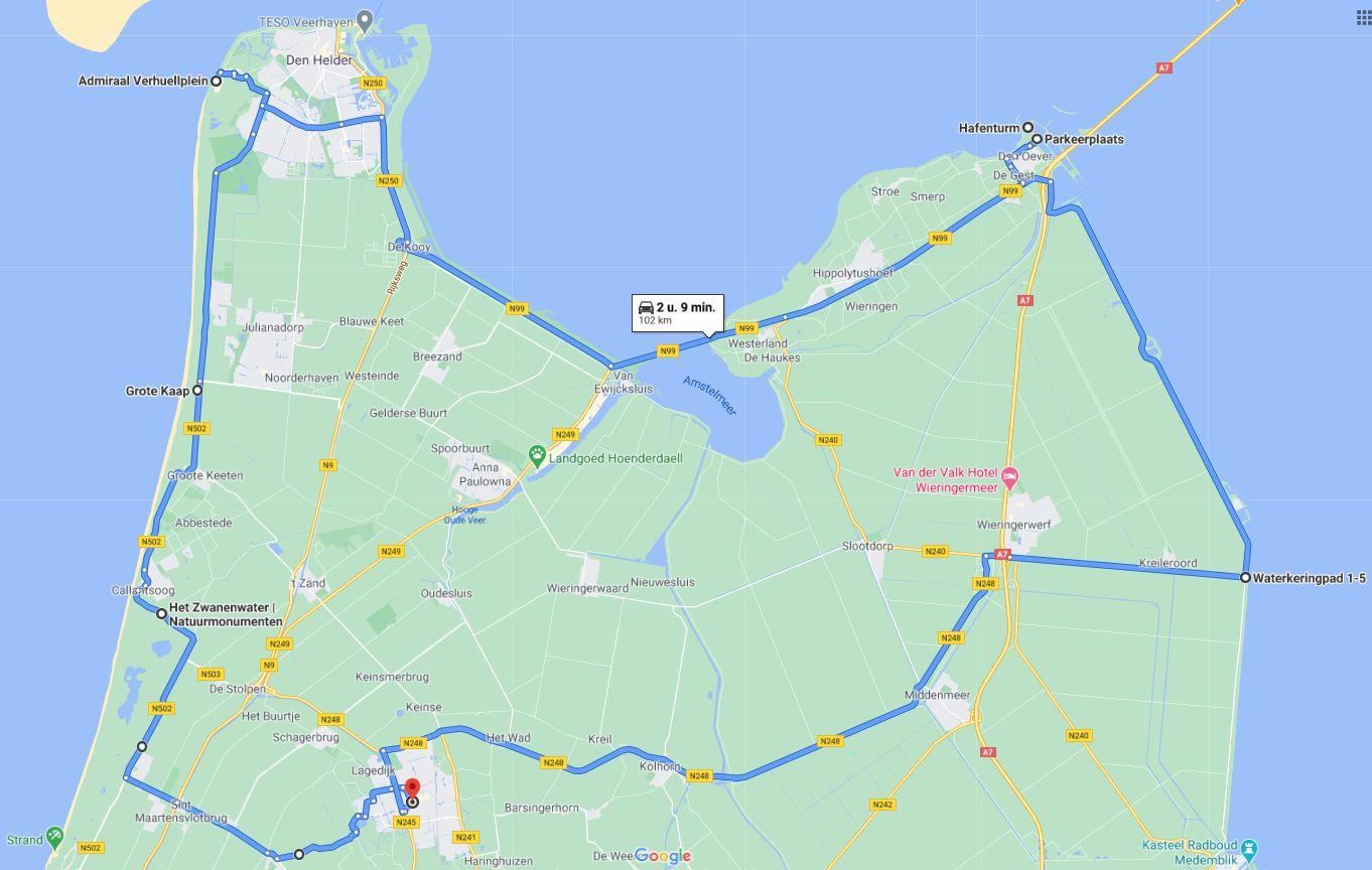 Roadtrip door de Kop van Noord-Holland: dit zijn de leukste dingen om te doen, plattegrond